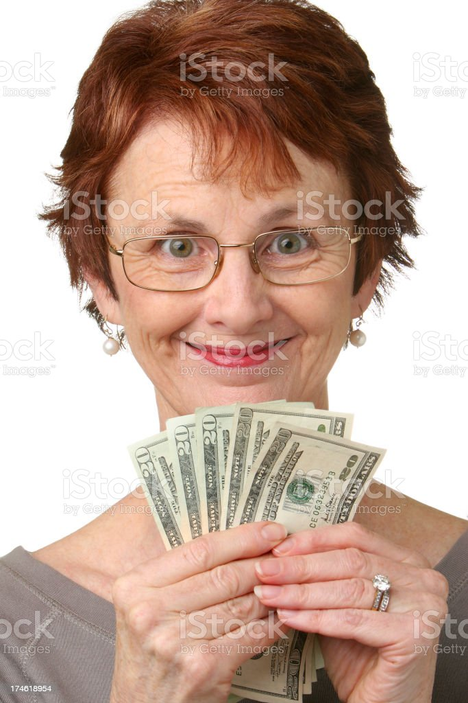 Woman with money. stock photo