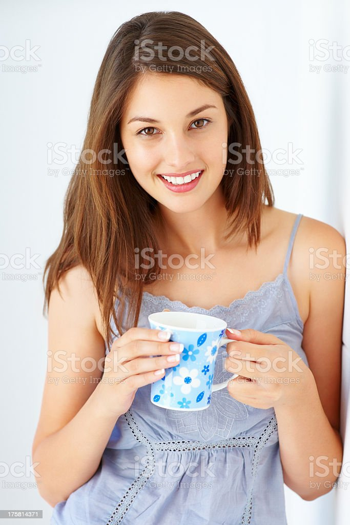 Woman with morning coffee stock photo