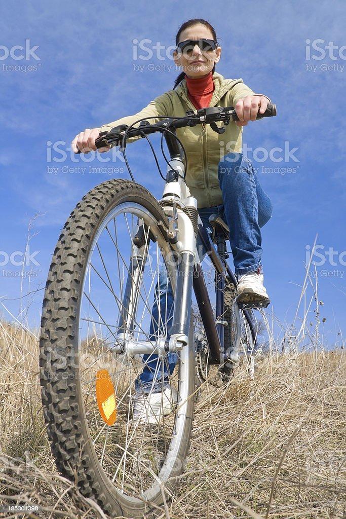 woman with mountain bike royalty-free stock photo