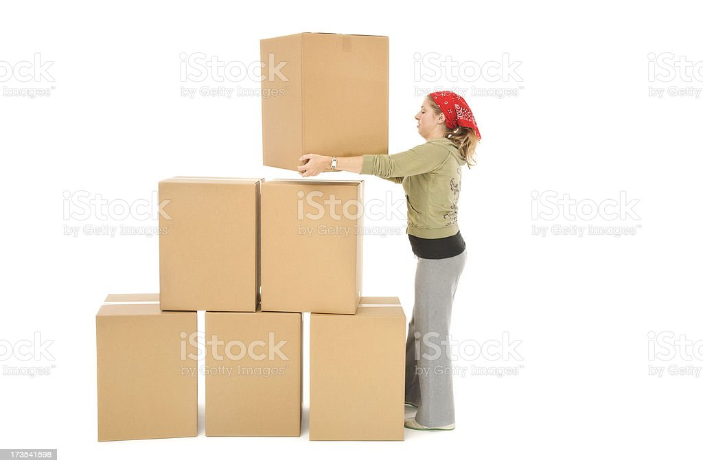 Woman with Moving Boxes royalty-free stock photo