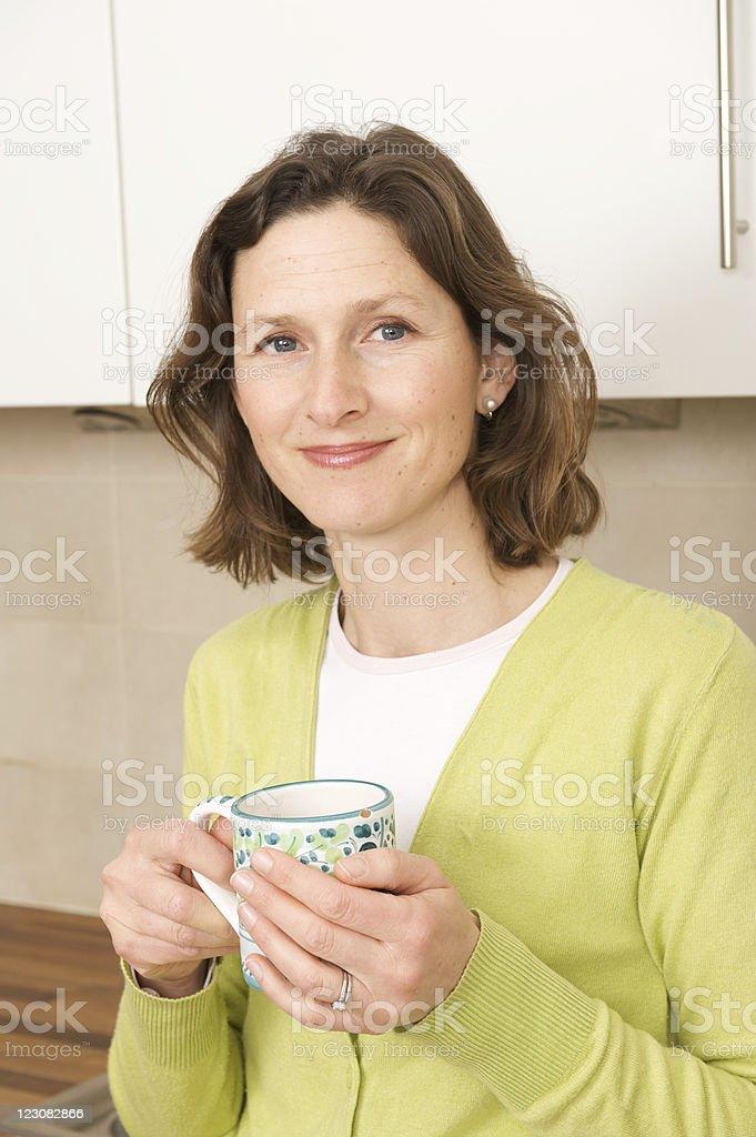 Woman with mug royalty-free stock photo