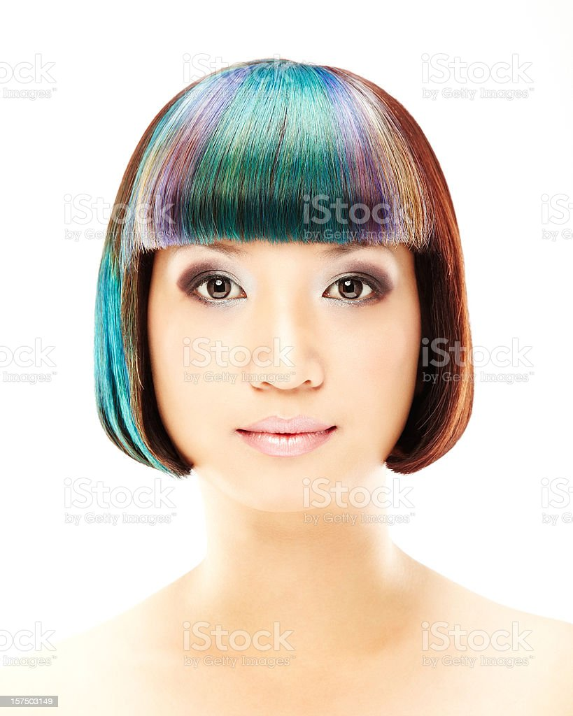Woman With Multi-colored Hair royalty-free stock photo