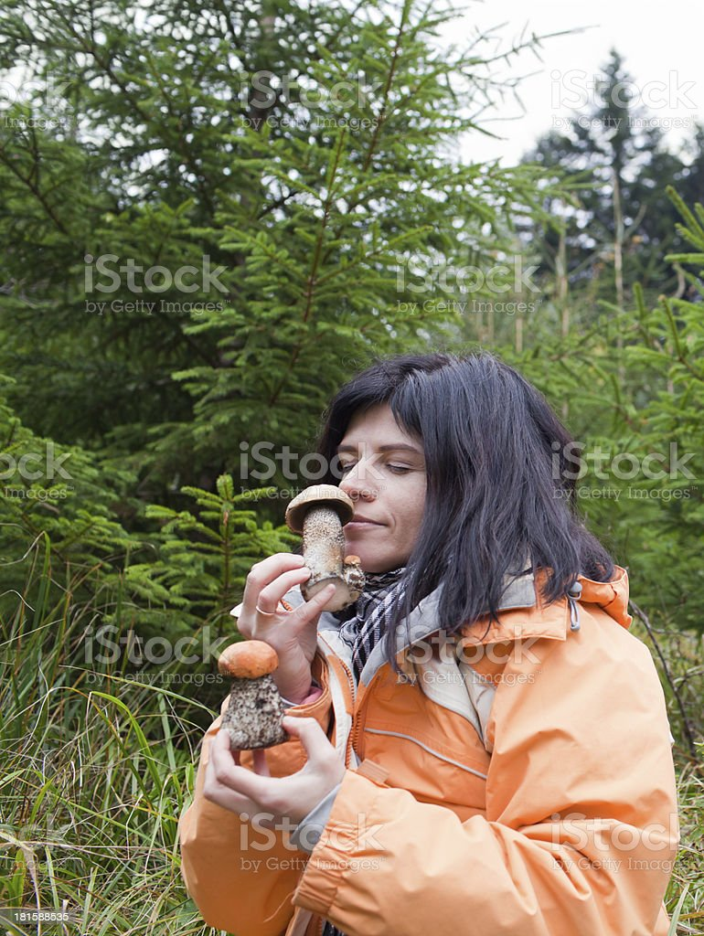 Woman with mushrooms royalty-free stock photo