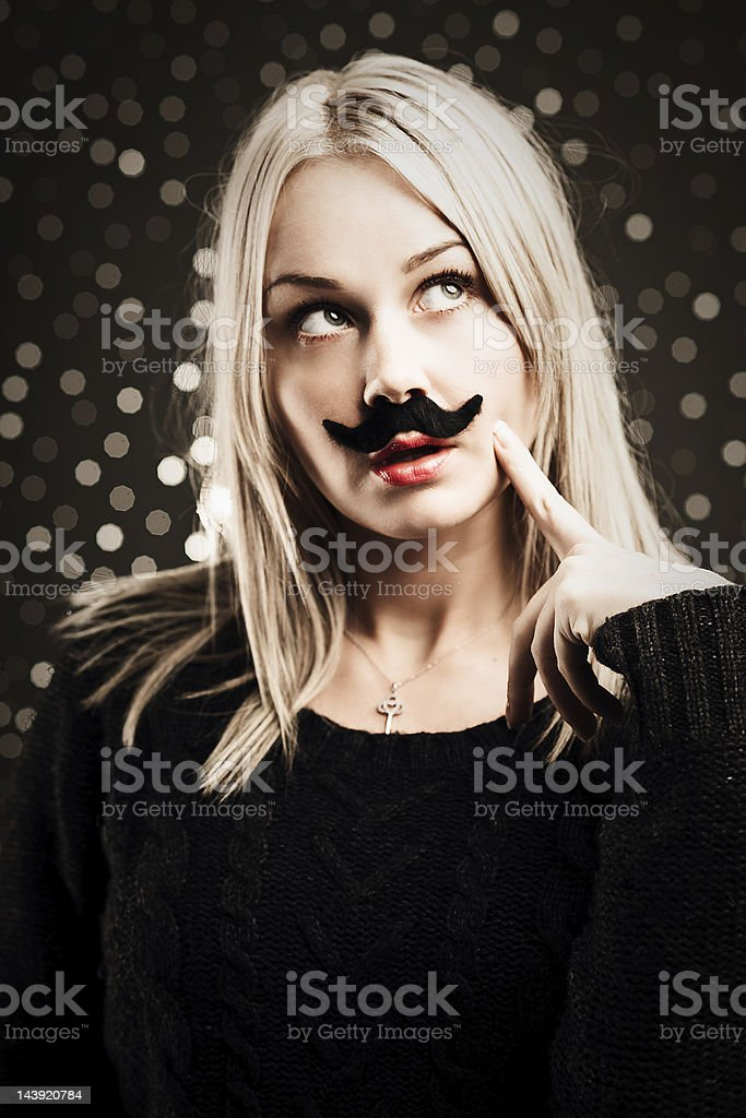 Woman with mustache royalty-free stock photo