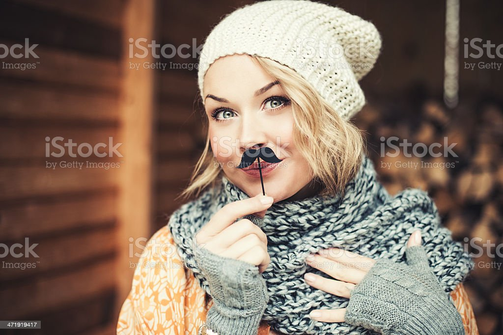 Woman with mustache stock photo