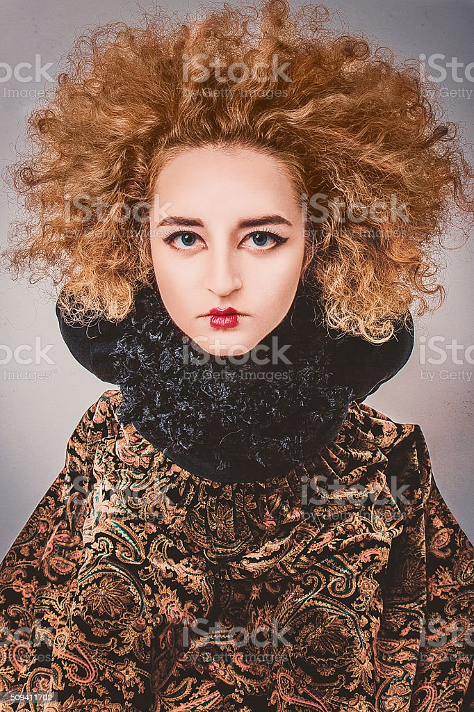 Woman with mystery facial expression stock photo
