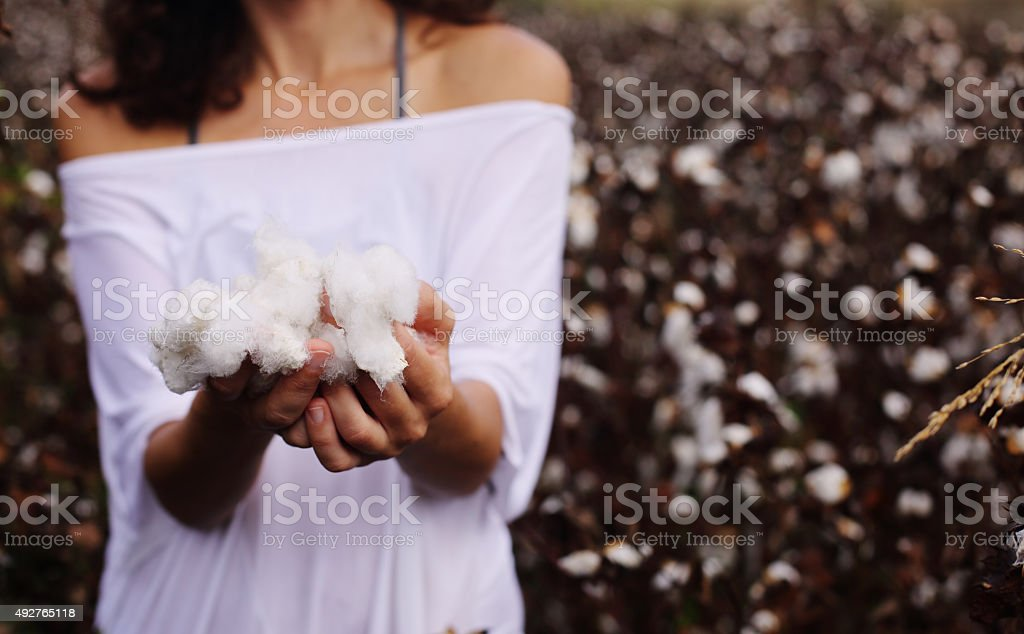 Woman with natural cotton stock photo