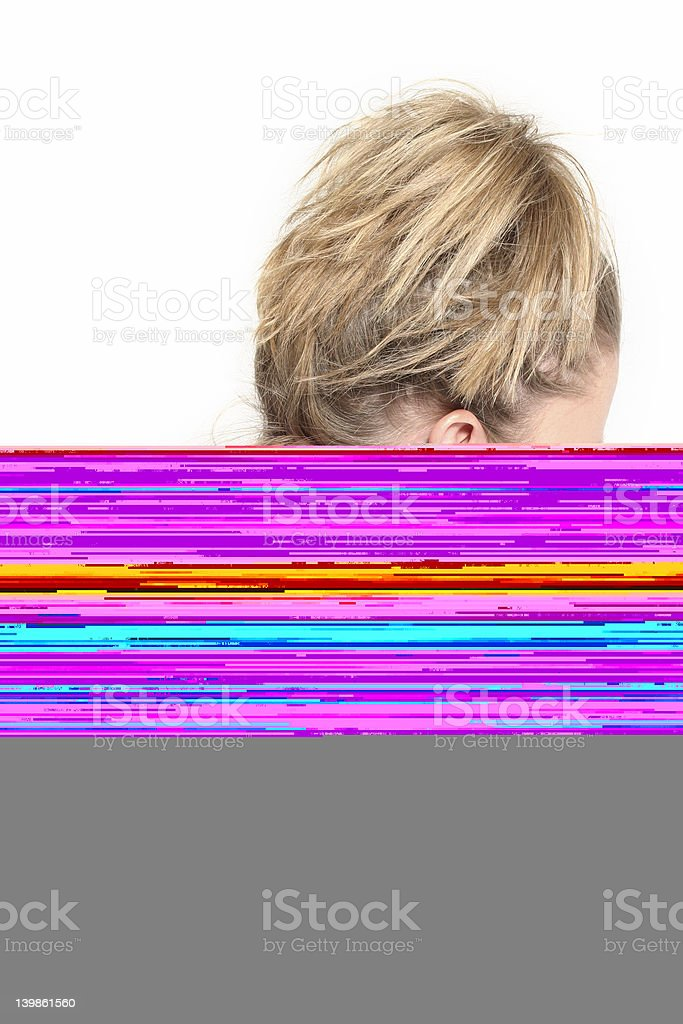 woman with neck pain royalty-free stock photo