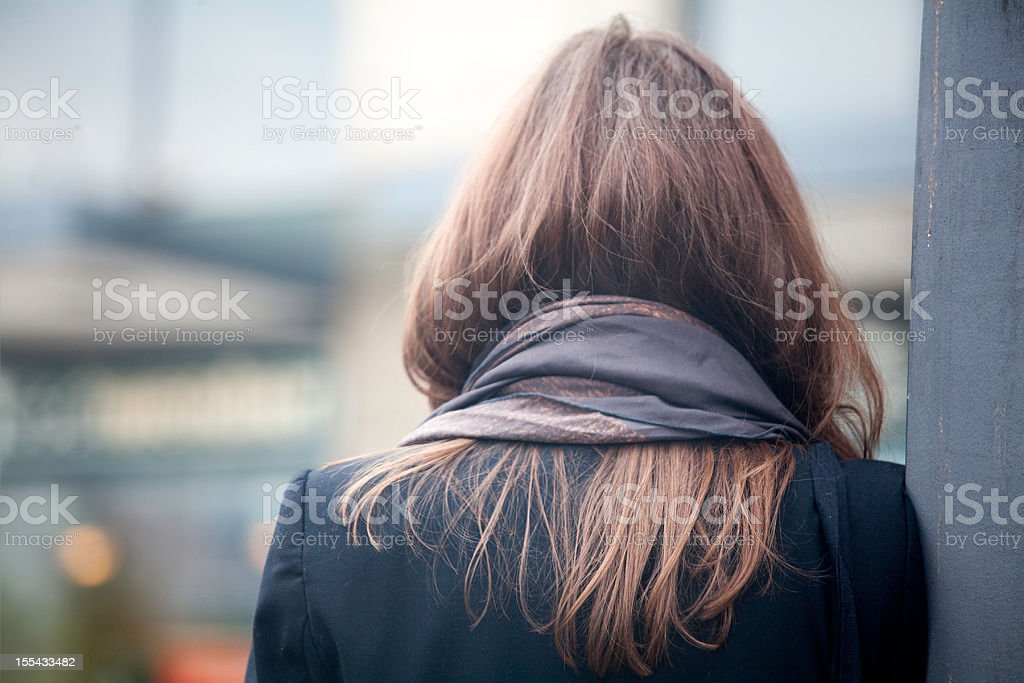 Woman with neckerchief stock photo