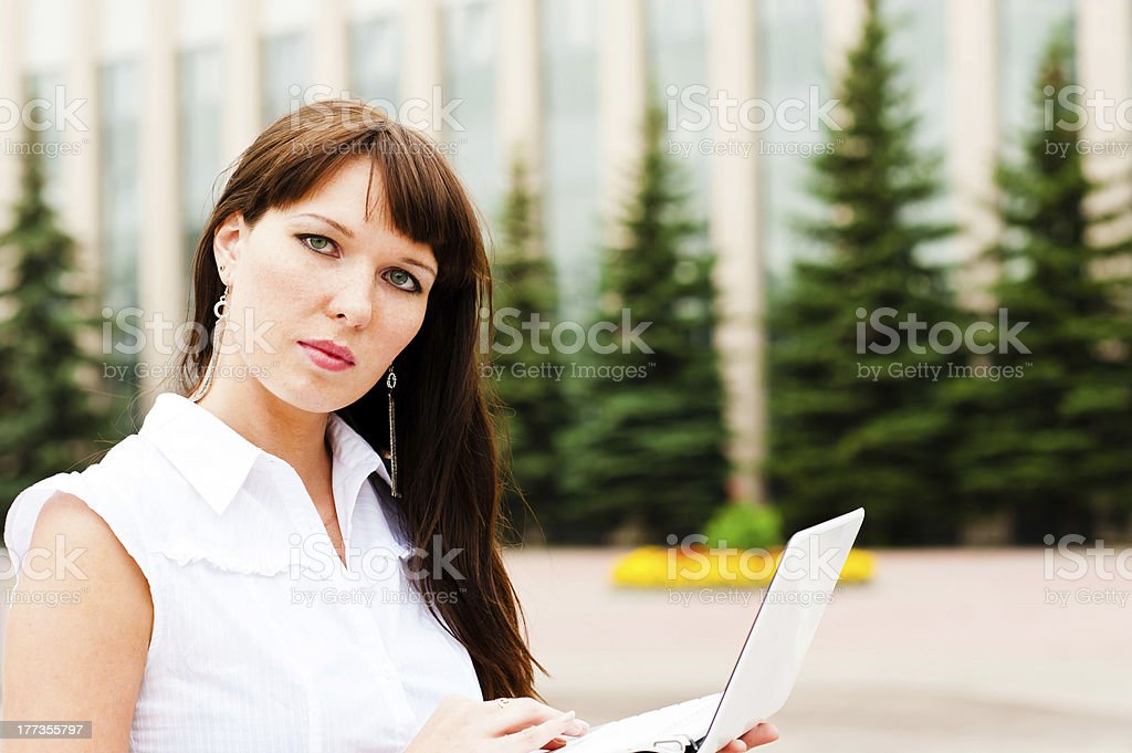 woman with netbook royalty-free stock photo