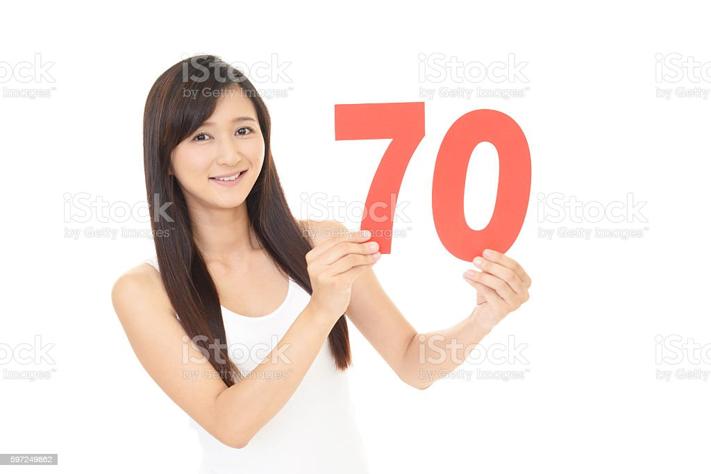 Woman with number stock photo