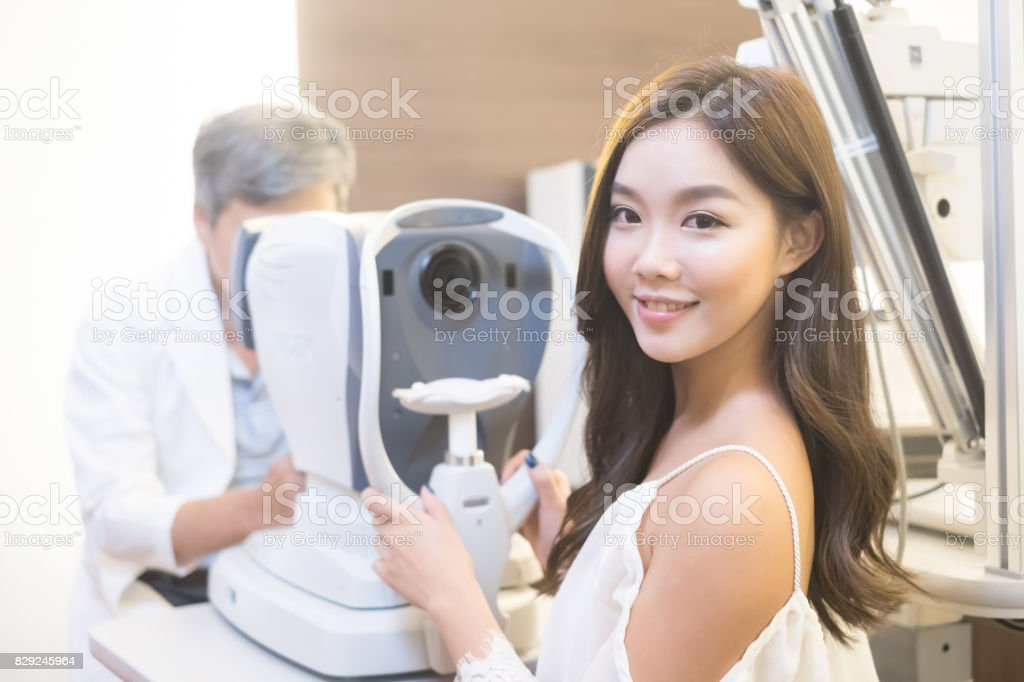 woman with optometry stock photo