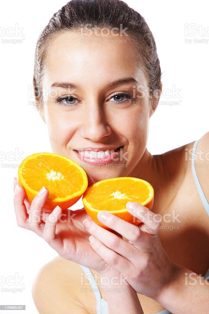 Femme avec orange photo libre de droits