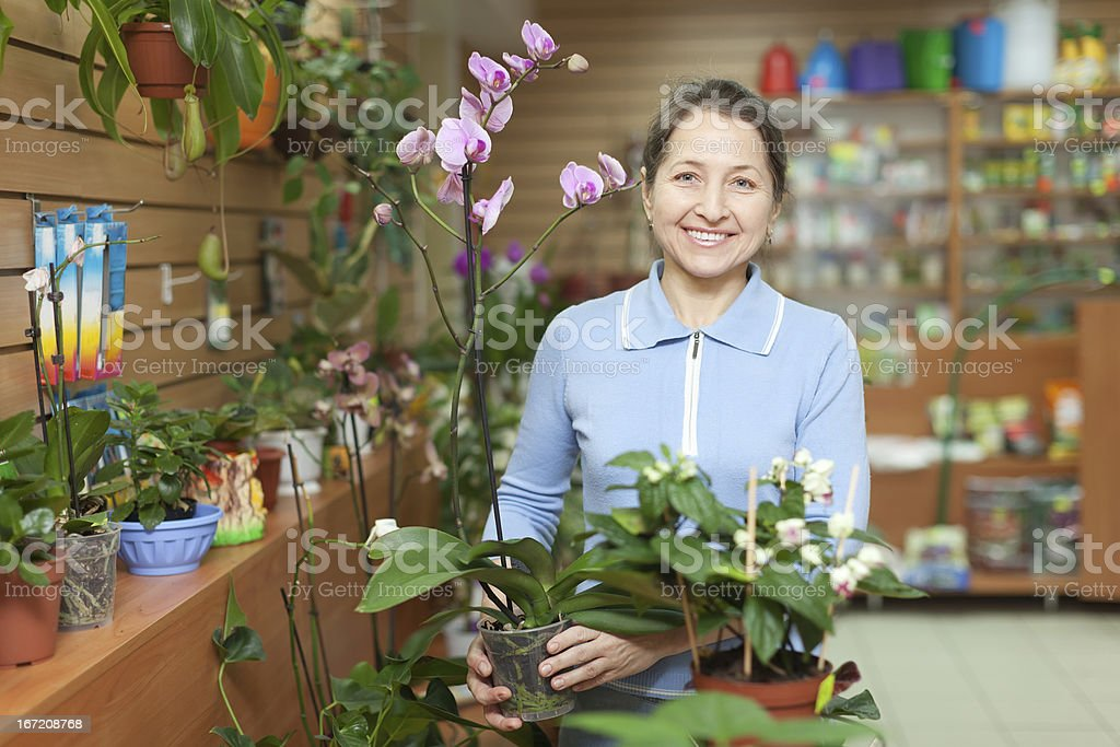 woman with  orchid at flower store royalty-free stock photo