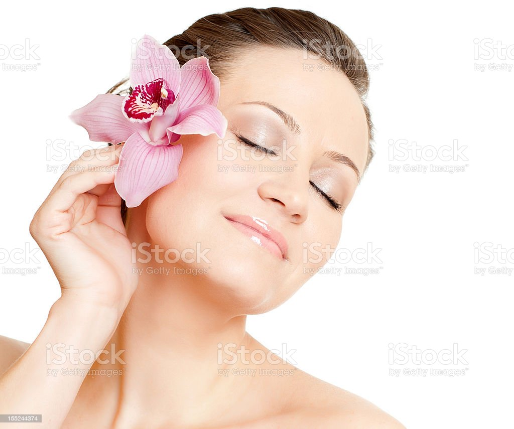woman with orchid royalty-free stock photo