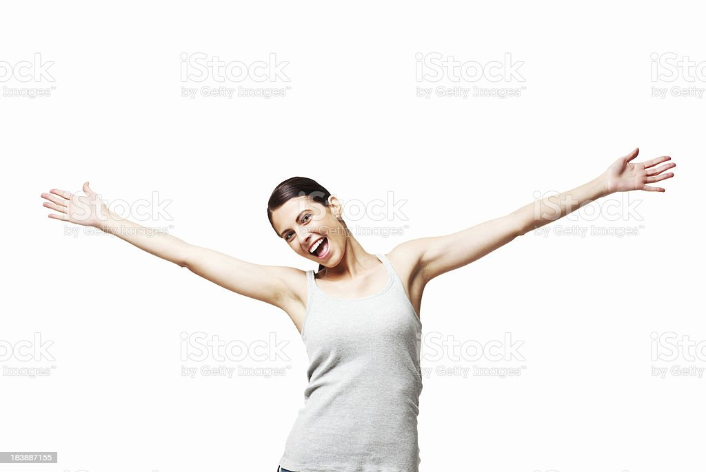 Woman With Outstretched Arms - Isolated stock photo