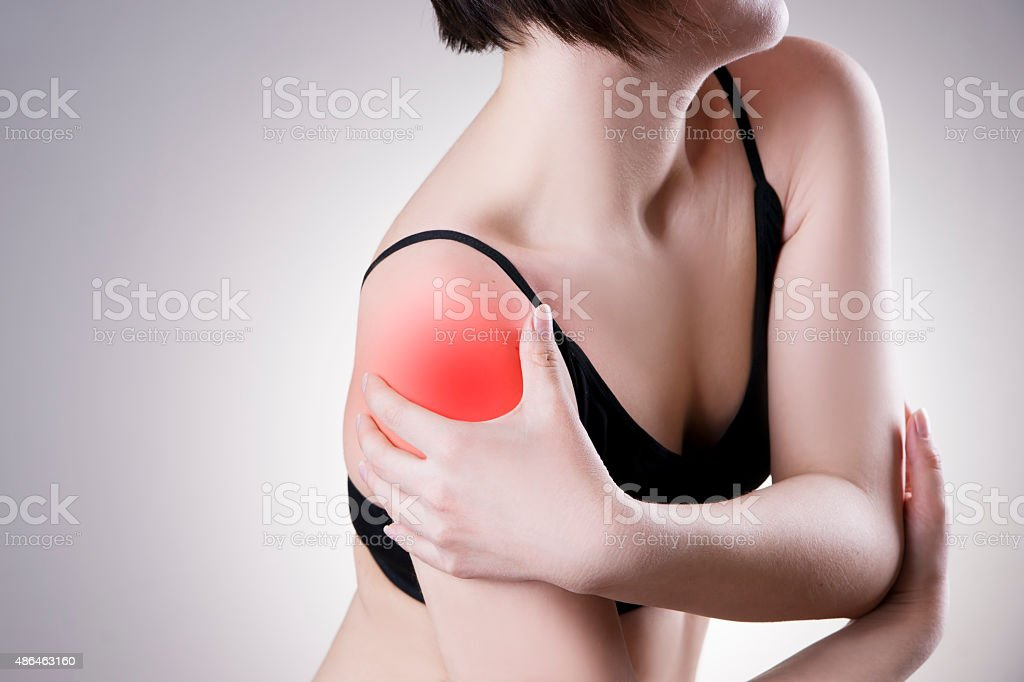 Woman with pain in shoulder. Pain in the human body stock photo