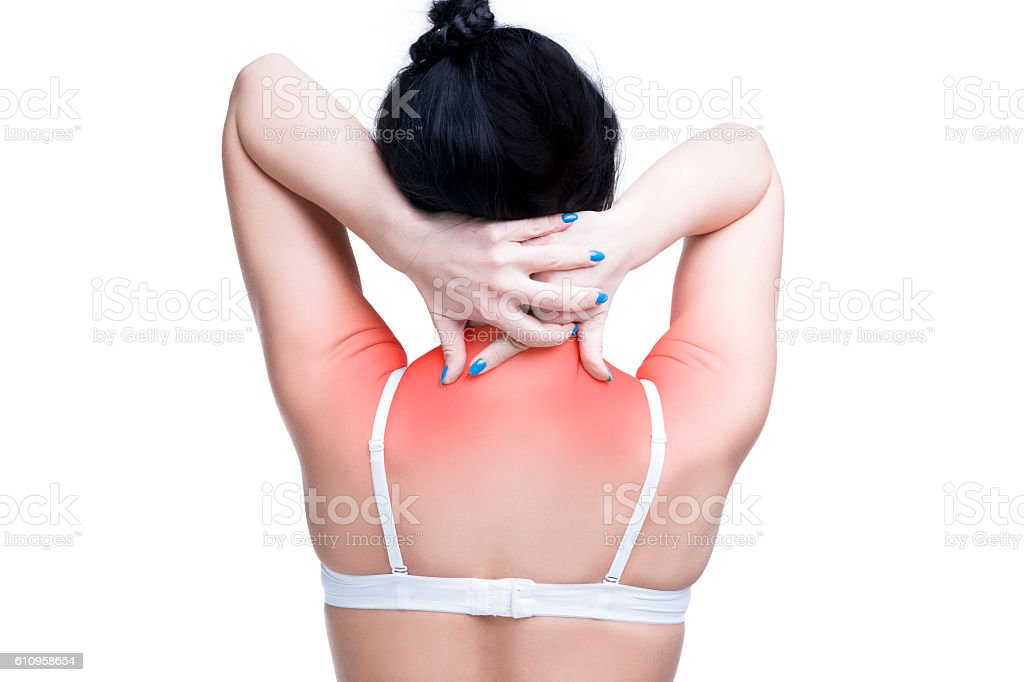 Woman with pain in shoulders and neck, isolated stock photo