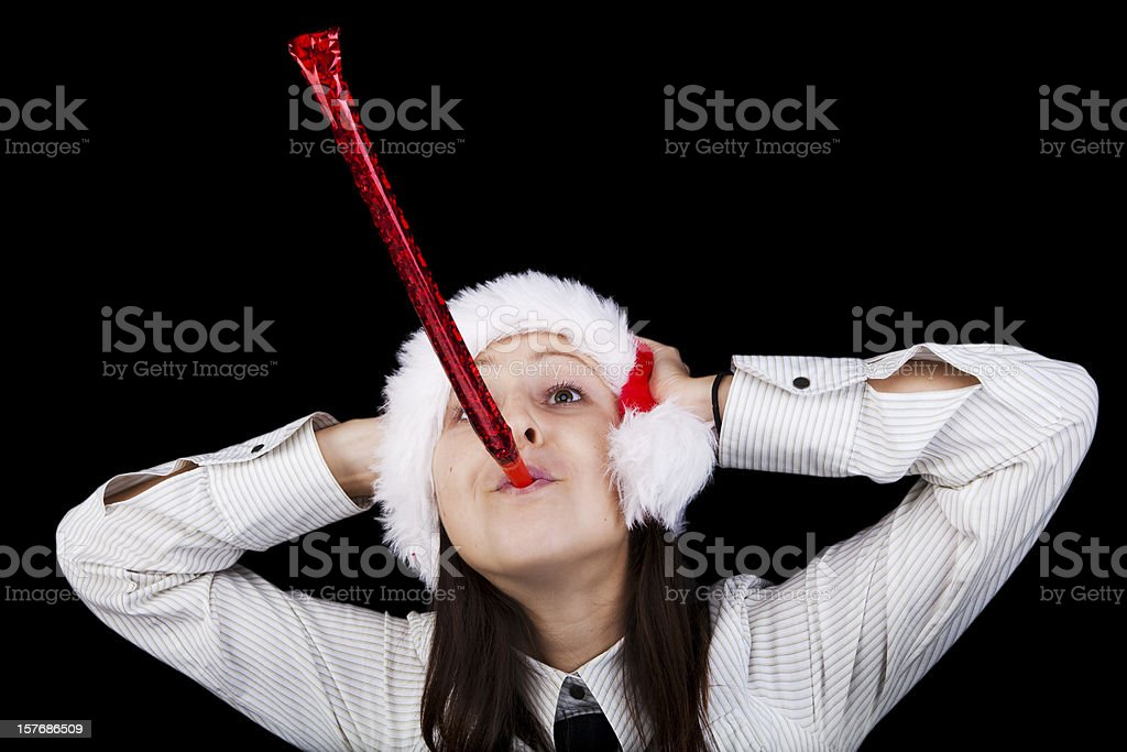 Woman with Party Horn Blower stock photo