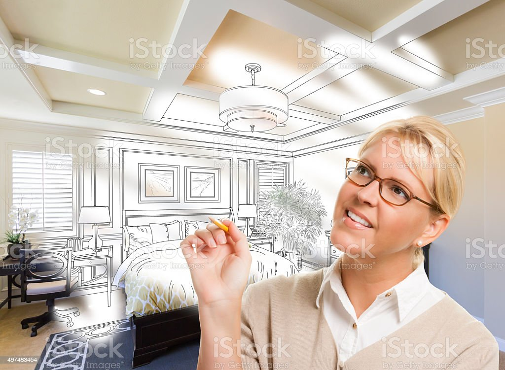 Woman With Pencil Over Bedroom Design Drawing and Photo Combinat vector art illustration