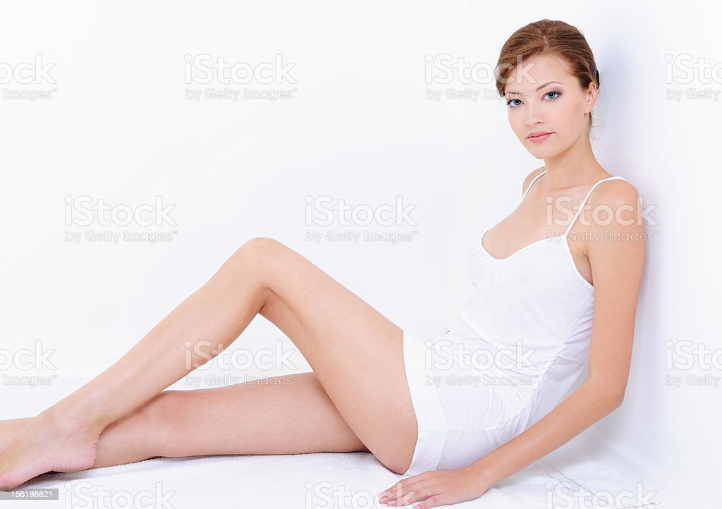 woman with perfect  body in white nightie royalty-free stock photo