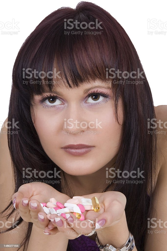 Woman with pharmaceuticals stock photo