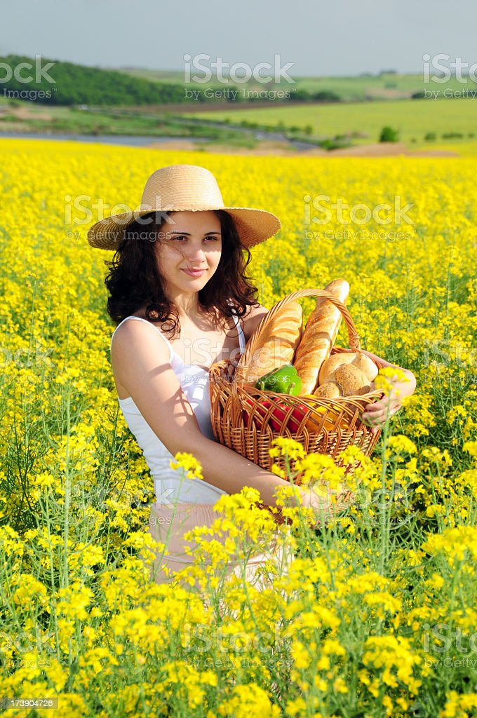 Woman with pick-nick basket series royalty-free stock photo