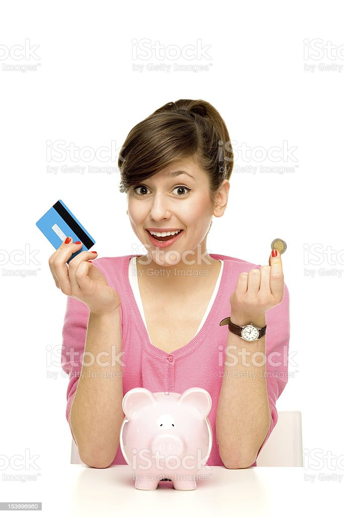 Woman with piggy bank royalty-free stock photo