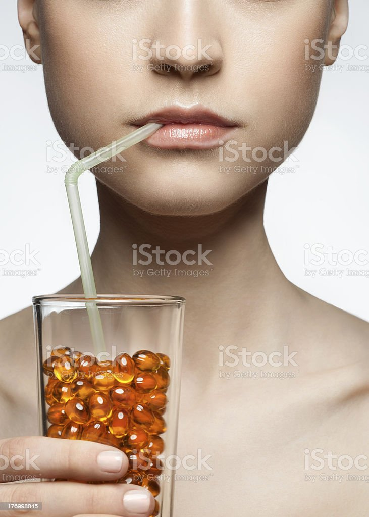 Woman with pills royalty-free stock photo