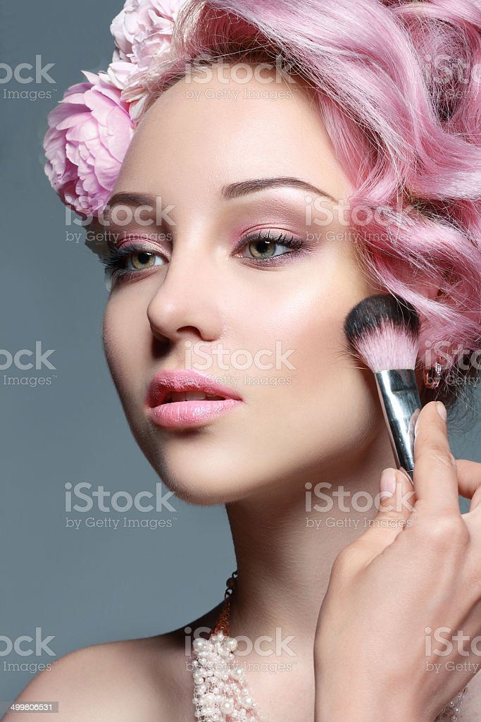 woman with pink hair stock photo