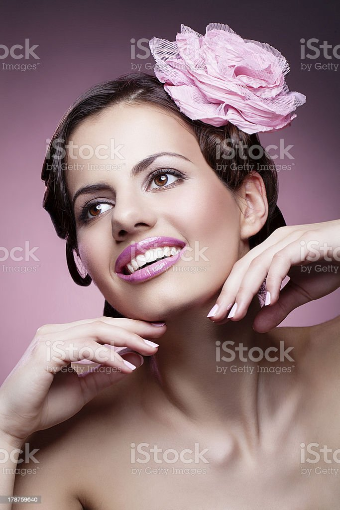 Woman with pink rose royalty-free stock photo