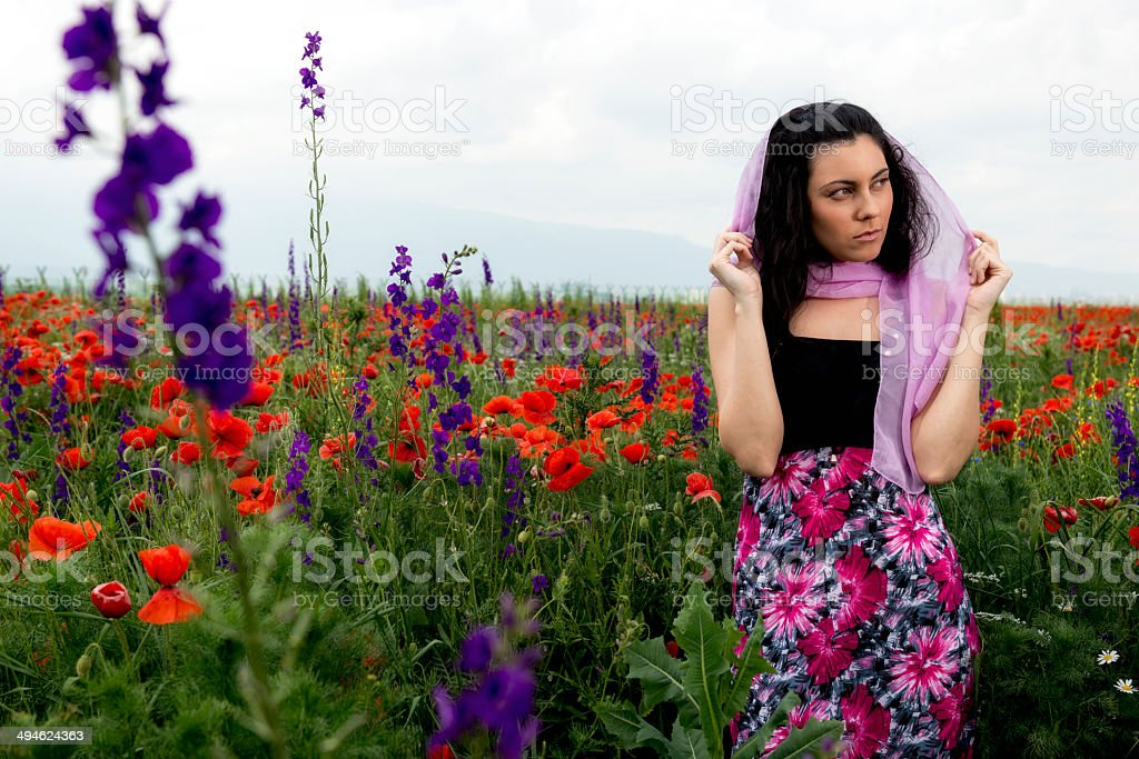 Woman with pink scarf stock photo