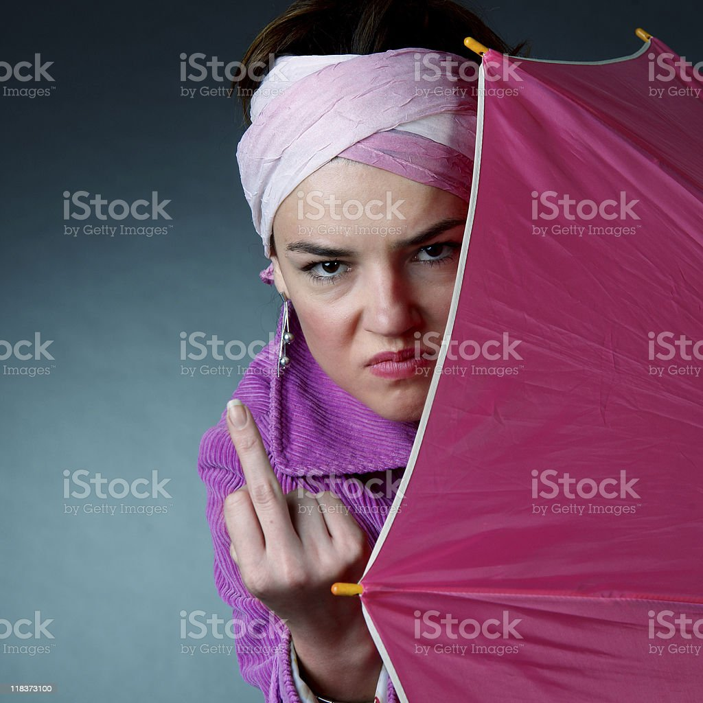 Woman with pink umbrella royalty-free stock photo