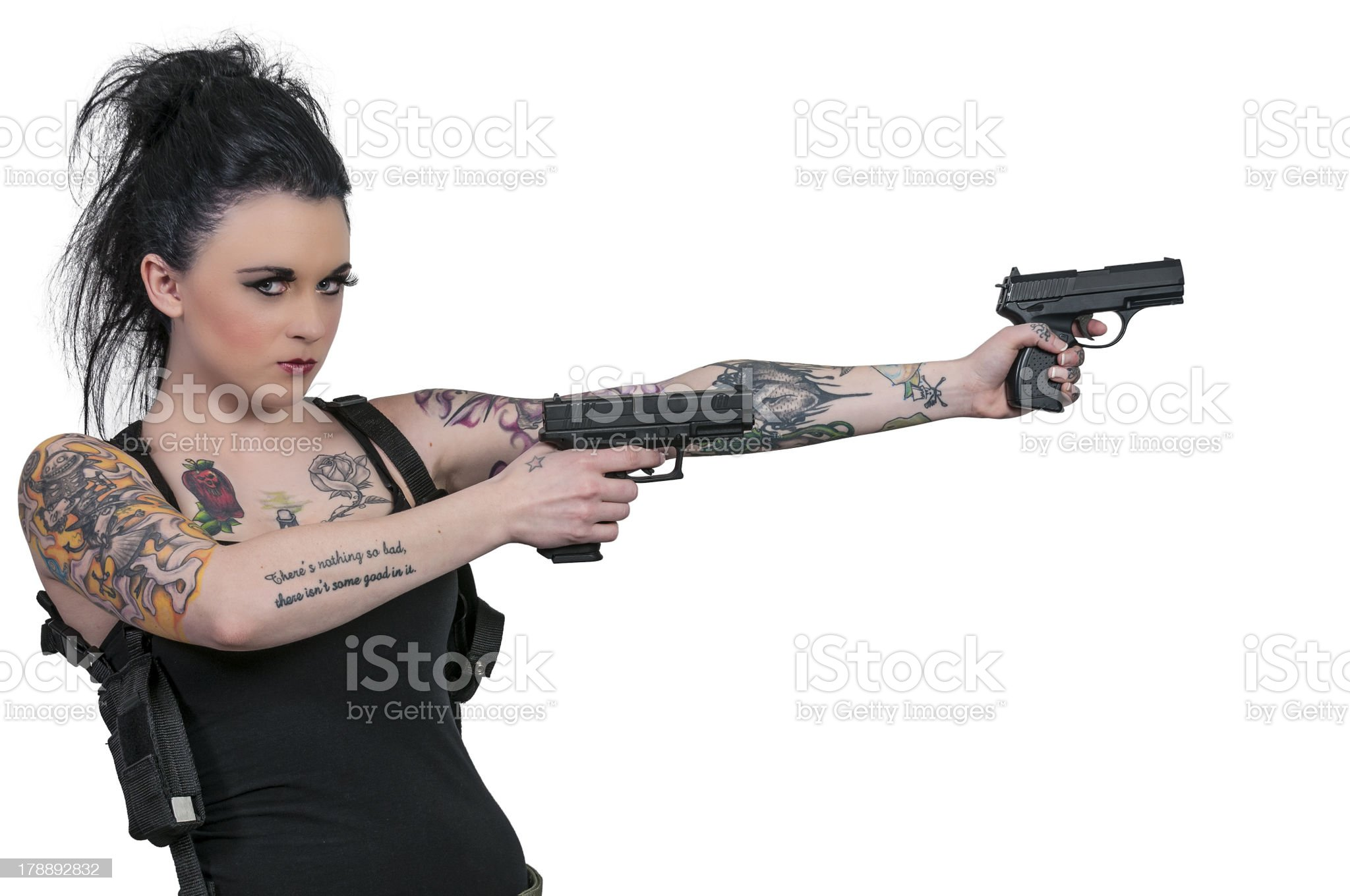 Woman with Pistols royalty-free stock photo