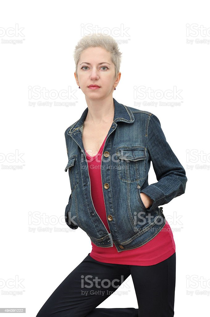 Woman with pixie cut stock photo