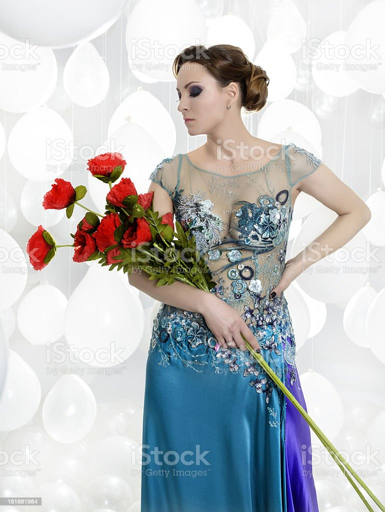 woman with poppies bunch royalty-free stock photo