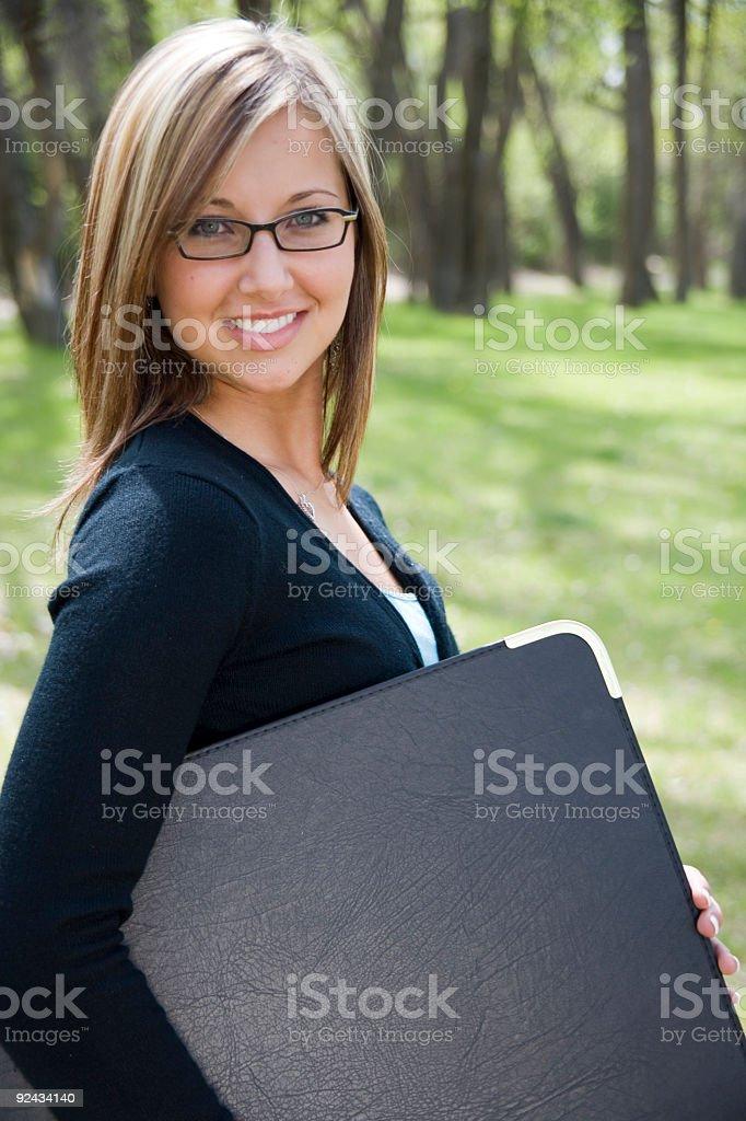 Woman with Portfolio royalty-free stock photo