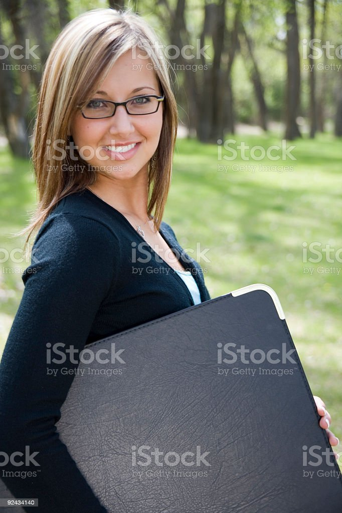 Woman with Portfolio stock photo