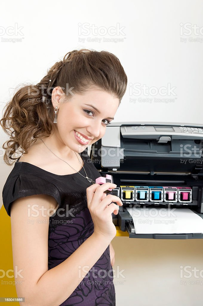 Woman with printer stock photo