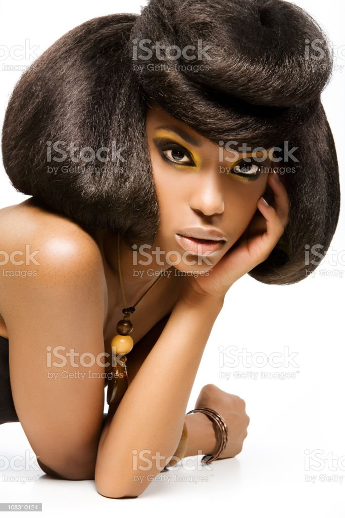 woman with professional hairstyling royalty-free stock photo