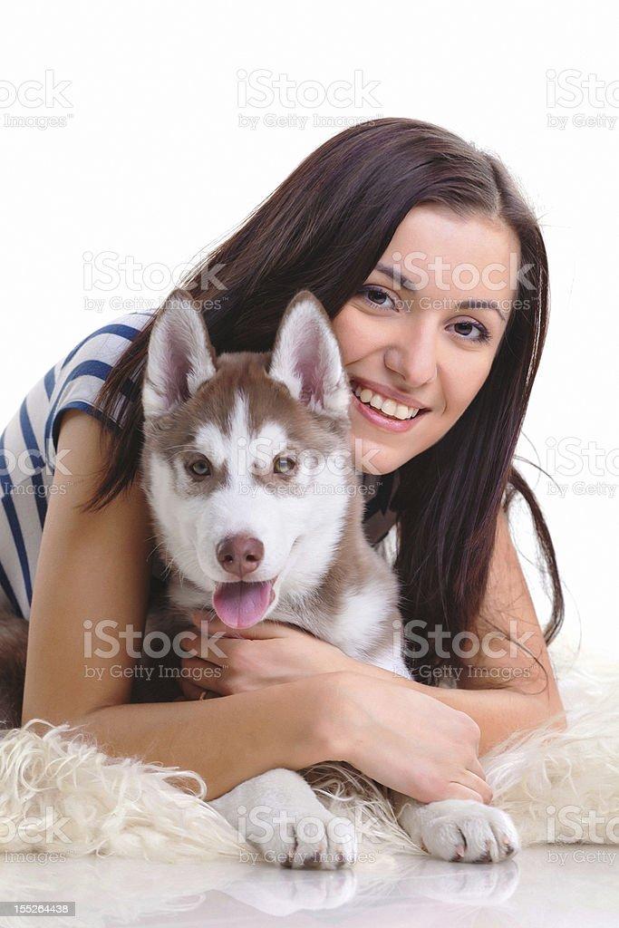 Frau mit Hund Lizenzfreies stock-foto
