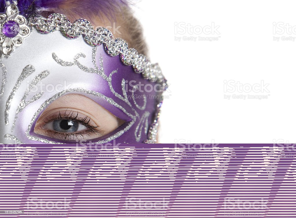 Woman with purple and white mask stock photo