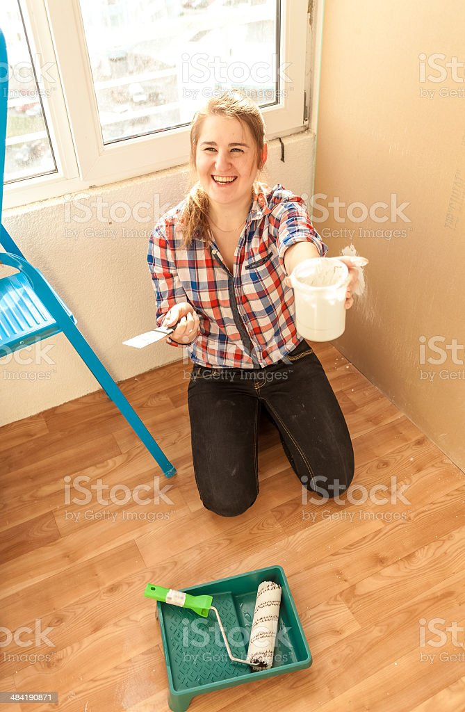 Woman with putty, spatula royalty-free stock photo