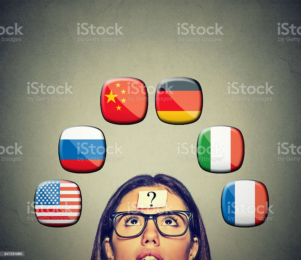 Woman with question international flags above head stock photo