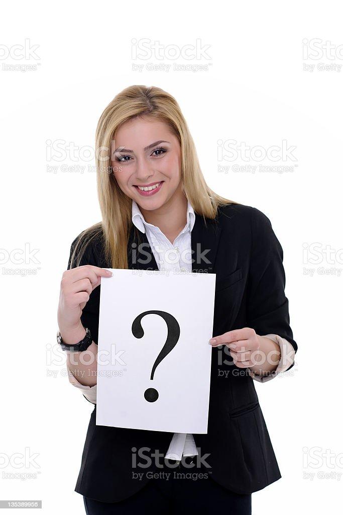 Femme avec Point d'interrogation photo libre de droits
