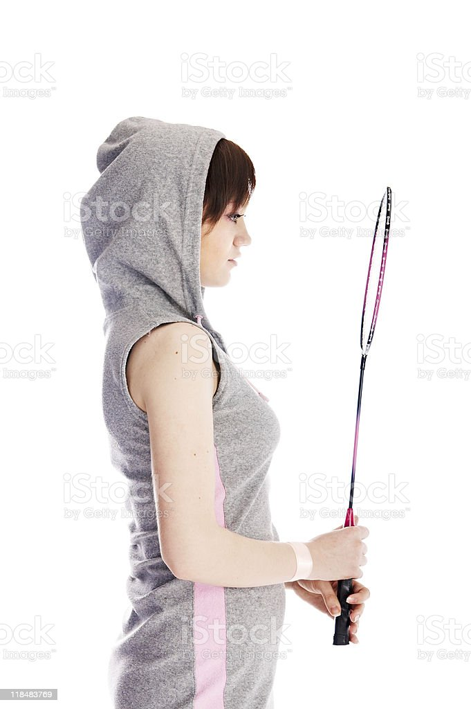 woman with racket royalty-free stock photo