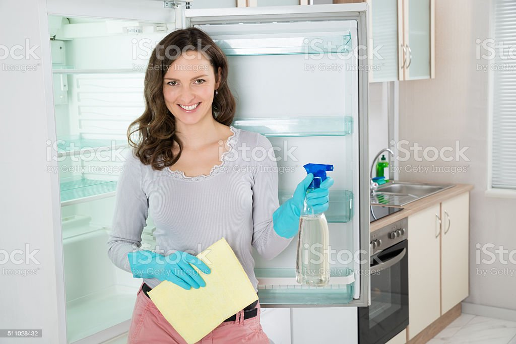 Woman With Rag And Spray Bottle Near The Fridge stock photo