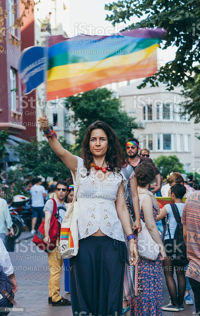 Woman with rainbow flag at Gay Pride Istanbul stock photo