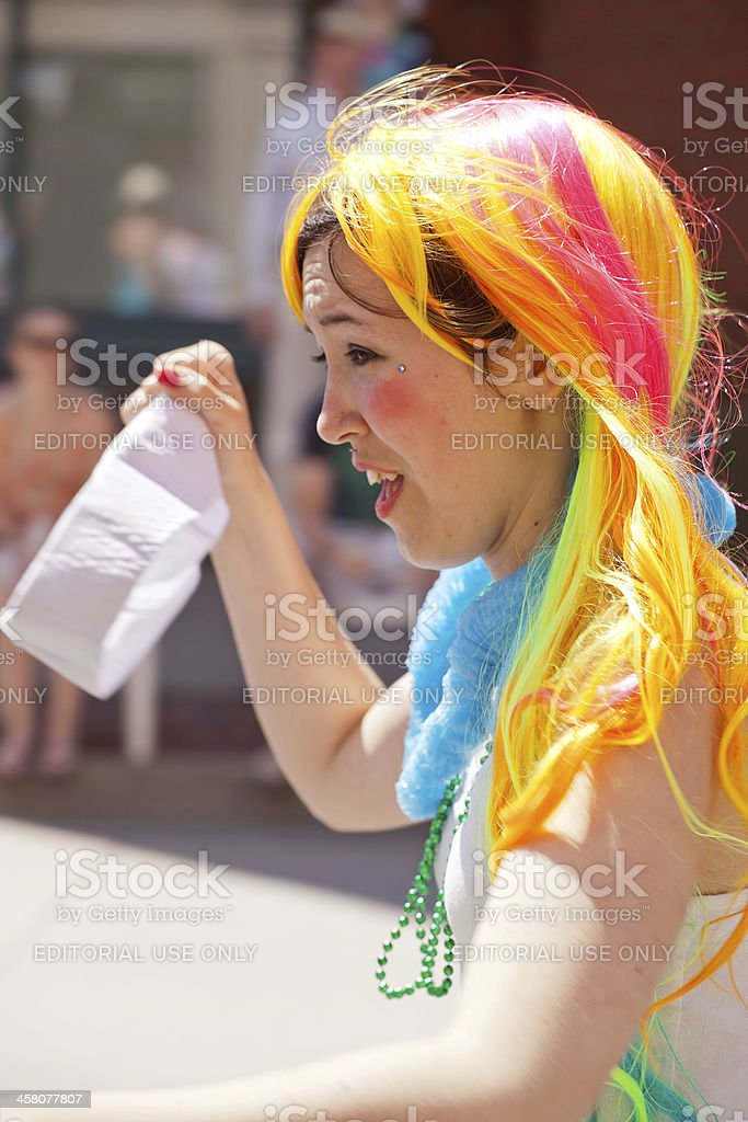 Woman With Rainbow Wig royalty-free stock photo
