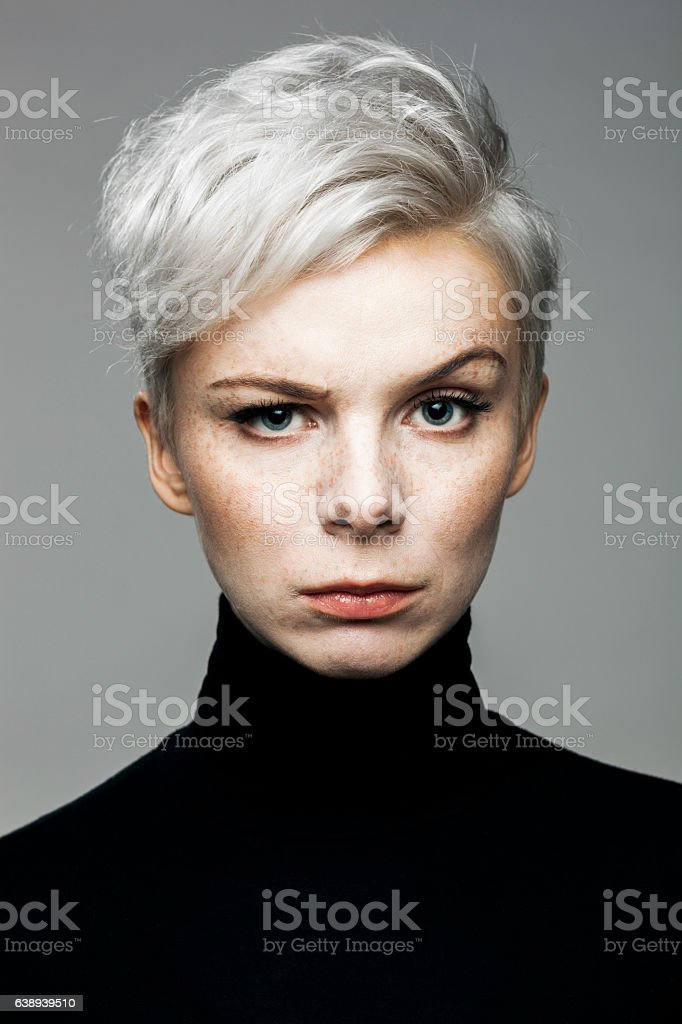 Woman With Raised Eyebrow stock photo